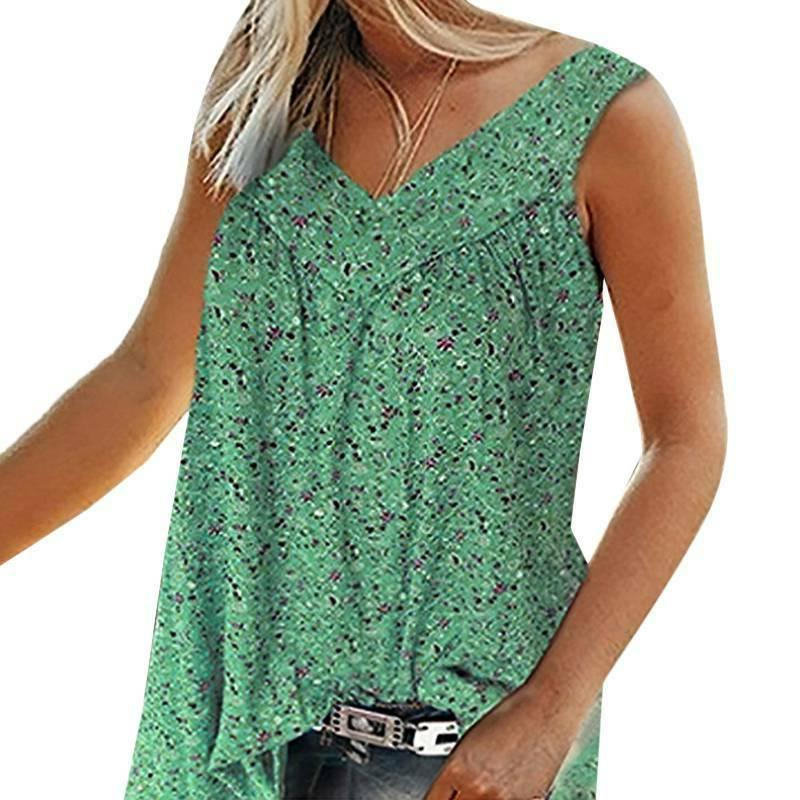 Womens Boho Tank Floral Vest Sleeveless Summer Casual Blouse