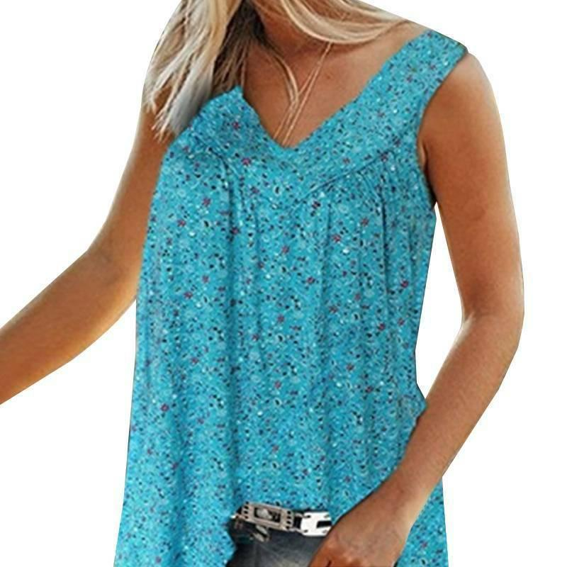 Womens Boho Tops Floral Vest Casual