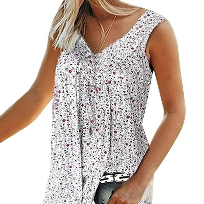 Womens Boho Floral Vest Summer Casual Loose