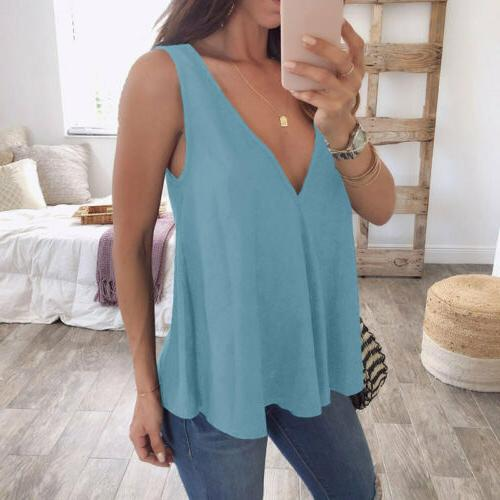 Summer Womens Strappy Vest Shirts Blouse Casual Loose Tank T