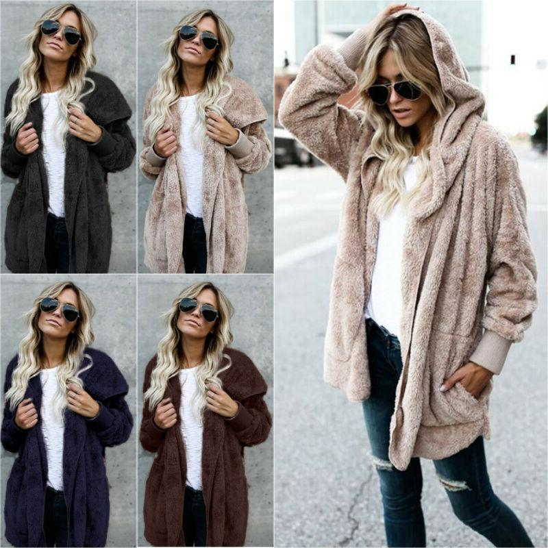 Women's Faux Bear Jacket Sweater Hooded Overcoat