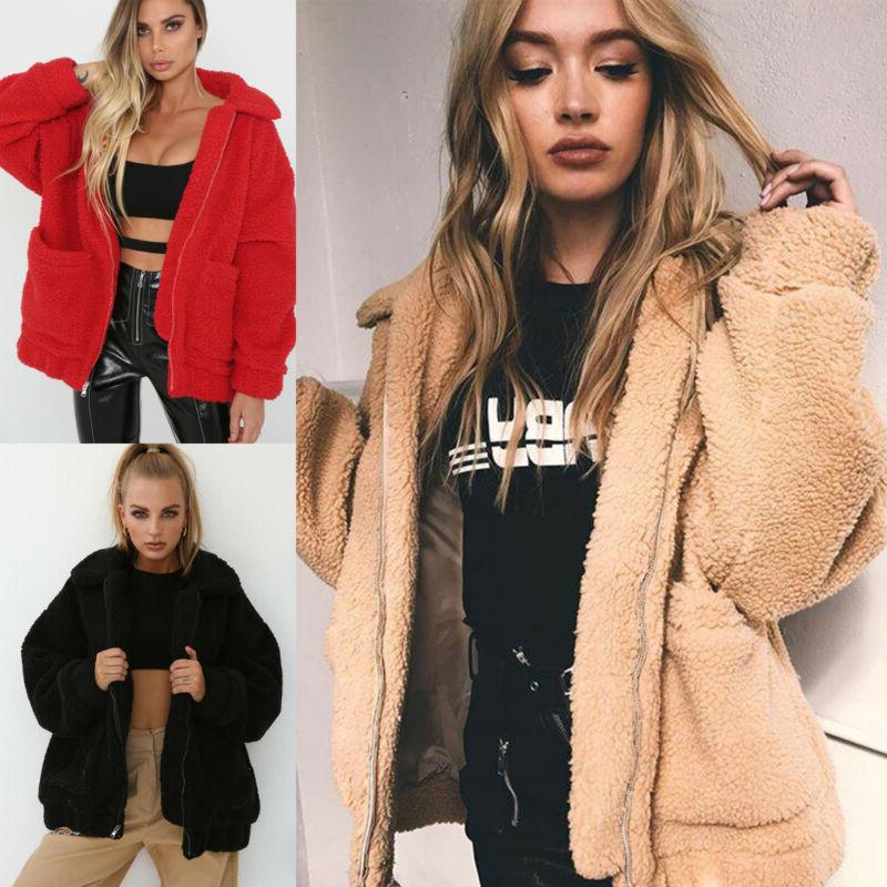 Women's Fur Bear Jacket Sweater Hooded