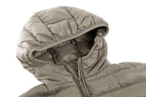 Wantdo Womens Hooded Ultra Light Weight Down Coat Short Outwear,Khaki,US XL
