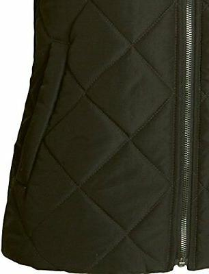 LE3NO Womens Lined Quilted Puffer Vest With Fleece Hoodie