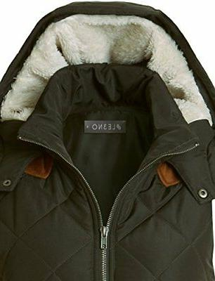 LE3NO Lightweight Lined Quilted Puffer With Fleece Hoodie