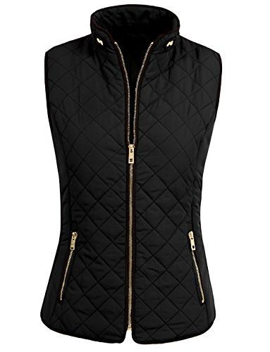 womens lightweight quilted zip vest medium newv40black