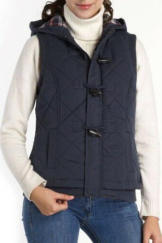 womens quilted hooded vest regular navy