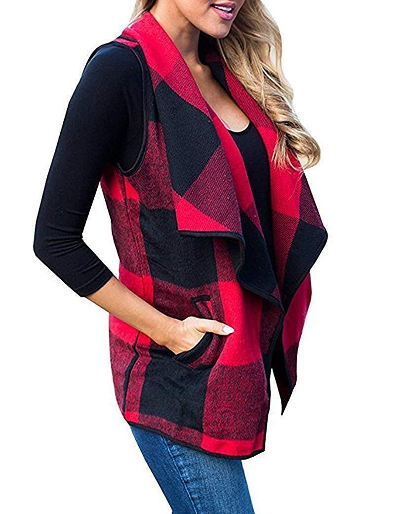 Front Hem Plaid Vest Cardigan