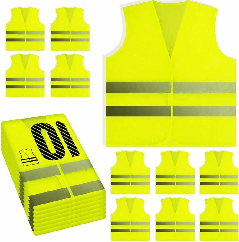 yellow reflective safety vest silver strip bright