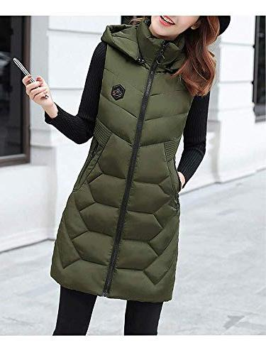 Women's Cotton Padded Collar Outwear Jacket Hooded Down Army Green Tag