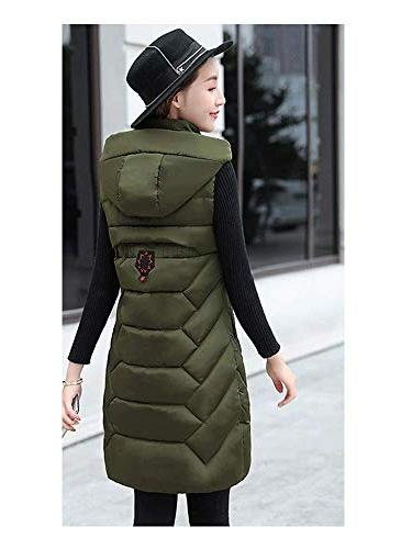 Women's Quilted Padded Stand Collar Thickened Outwear Long Hooded Down Vest Green Tag