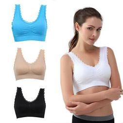 Lady Women's Yoga Sports Vest Bra Underwear Full Coverage Pl