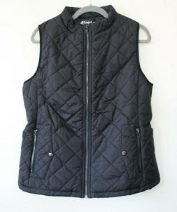 Argstar Large Black Front Zip Up Stand CollarPockets Quilted
