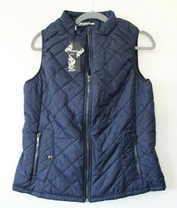 Argstar large Blue Front Zip Up Stand CollarPockets Quilted