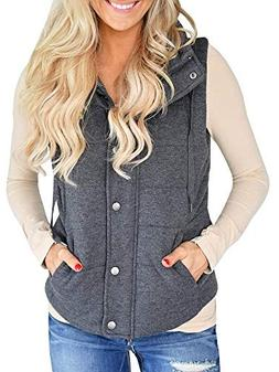 FISACE Womens Lightweight Button Quilted Vest Jacket Winter