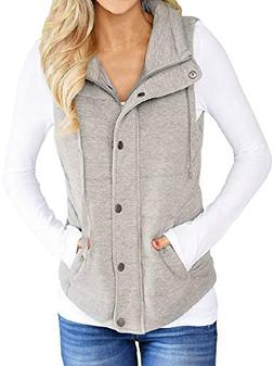 Valphsio Women Lightweight Quilted Padded Vest Stand Collar