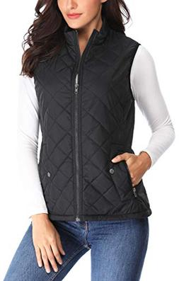 MISS MOLY Women Lightweight Quilted Padded Vest Stand Collar