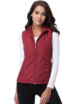 MISS MOLY Womens Lightweight Quilted Vest Zip up Stand Colla