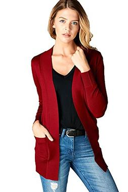 Women's Long Sleeve Cardigan Open Front Draped Solid Sweater