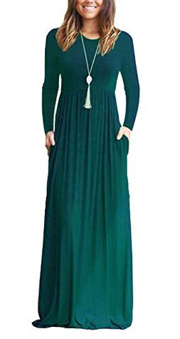 AUSELILY Women Long Sleeve Loose Plain Long Maxi Casual Dres
