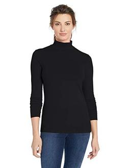 Amazon Essentials Women's Long-Sleeve Mockneck, Black, Mediu