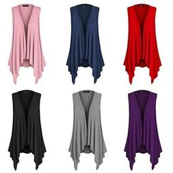 MBJ Womens Lightweight Sleeveless Open Front Drape Cardigan