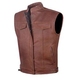 Men Armor Distress Brown Leather SOA Motorcycle Concealed Ca