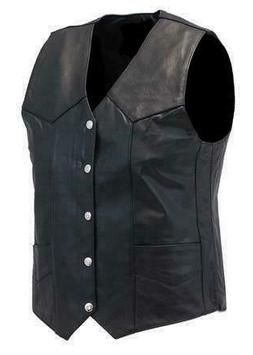 MEN CLASSIC MOTORCYCLE BIKER CONCEALED CARRY BLACK LEATHER V