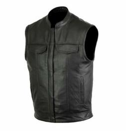 Men SOA Club Style Motorcycle Leather Vest Solid Black Conce