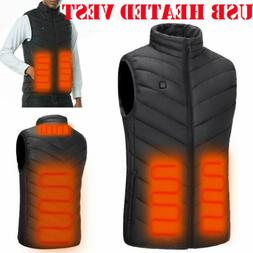 Men Electric USB Heated Vest Coat Jacket Warm Up Heater Pad