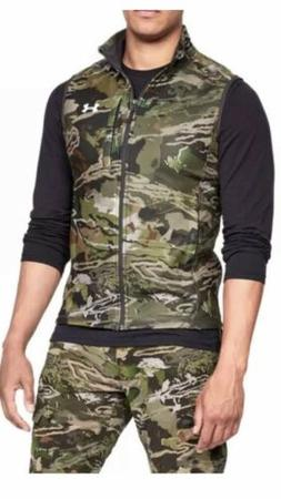 Under Armour Men Fleece Vest Green Camouflage Cold Gear 1316