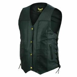 Men's Genuine Leather 10 Pocket Biker Leather Vest Concealed