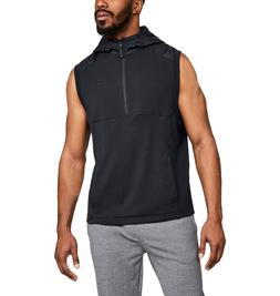 men microthread terry sleeveless hoodie pullover vest