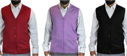 BLUE OCEAN MEN'S BIG AND TALL SOLID COLOR CARDIGAN SWEATER V