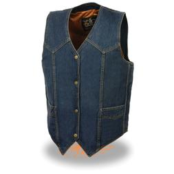 Milwaukee Leather Men's Classic Snap Front Denim Biker Vest-