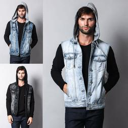 Victorious Men's Distressed Detachable Hoodie Denim Vest