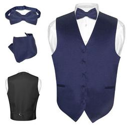 Men's Dress Vest BOWTie Hanky NAVY BLUE Color Bow Tie Set fo
