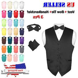 men s dress vest bowtie hanky solid