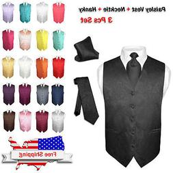 Men's Dress VEST NeckTie for Suit Tuxedo PAISLEY Design Mens