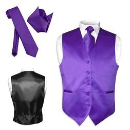Men's Dress Vest NeckTie Hanky PURPLE INDIGO Neck Tie Set fo