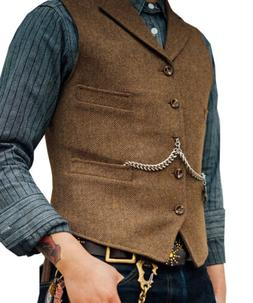 Men's Tweed Waistcoat Wool Suit Vests Herringbone Notch Lape