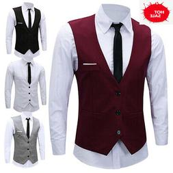 Men's Formal Business Slim Fit Chain Dress Vest Suit Tuxedo