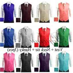 3Pcs SET Men's Formal Vest Tie Hankie Causal Formal Tuxedo S