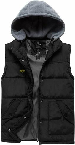 Wantdo Men's Hooded Winter Vest Jacket Sleeveless Quilted Pu
