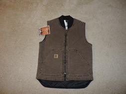 MEN'S MEDIUM REGULAR CARHARTT SANDSTONE DUCK ARTIC VEST NEW