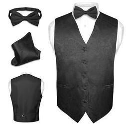 Men's Paisley Design Dress Vest & Bow Tie BLACK Color BOWTie
