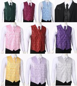 Men's Paisley Waistcoat Vest and Cravat Pocket Square Set Fo