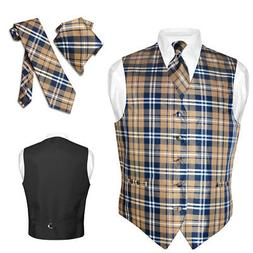 men s plaid design dress vest necktie