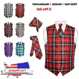 men s plaid dress vest necktie brown