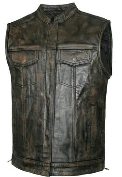 Men's SOA Motorcycle Distressed brown Leather Vest Concealed